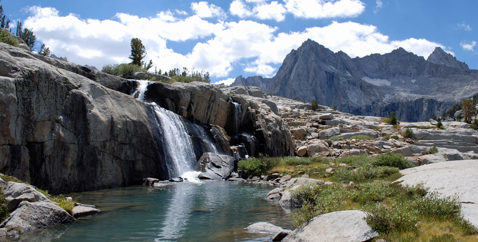 Photo of waterfall in the Sabrina Basin, Inyo County, CA