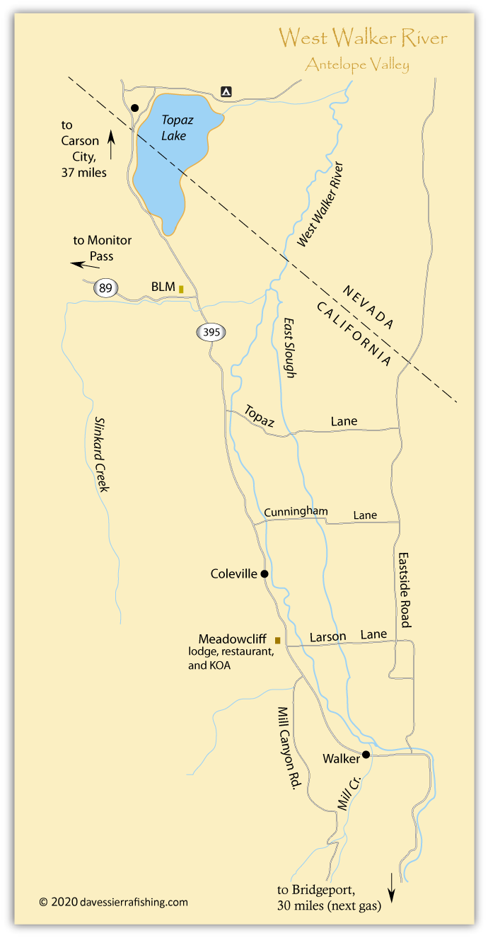Map of the Walker River in Antelope Valley, Mono County, CA