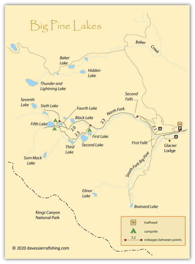 Map of Big Pine Lakes, Inyo County, CA