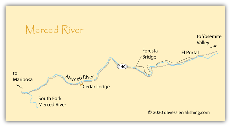 Map of Merced River west of Yosemite National Park, CA