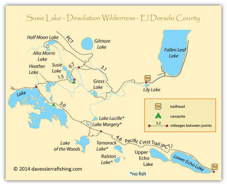 Map of Susie Lake, Desolation Wilderness, El Dorado County, CA