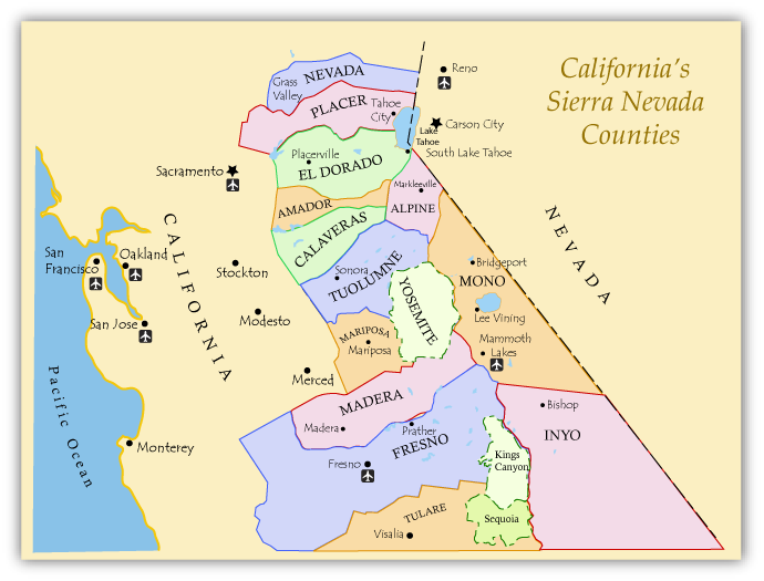 Map of the Eastern Sierra, CA