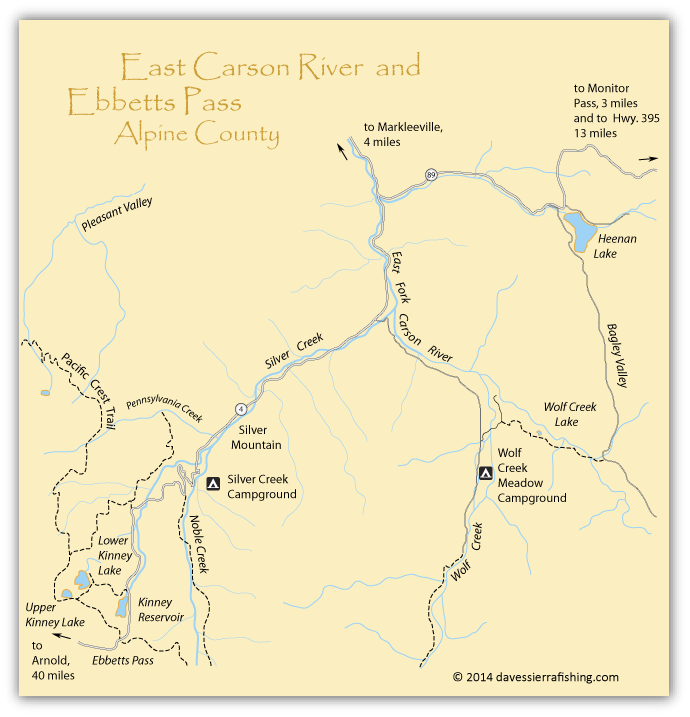 Map of the East Carson River and east side of Ebbetts Pass, Alpine County, CA