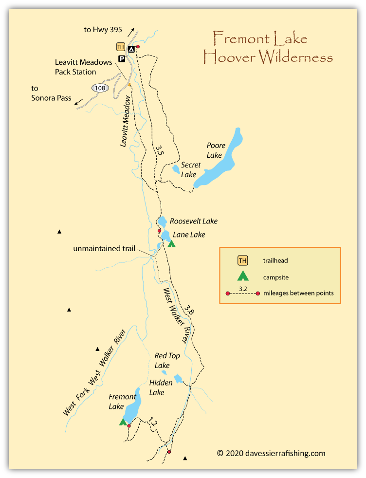 Map of Fremont Lake, Mono County, CA