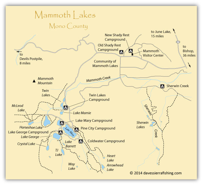 Map of Mammoth Lakes, Mono County, CA