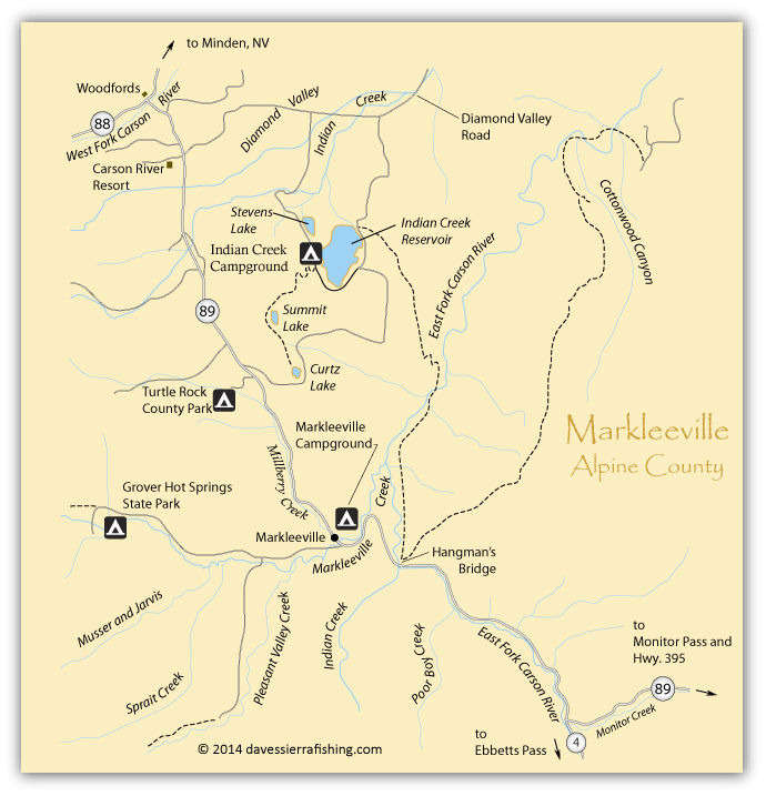 Map of the East Carson River and Markleeville, Alpine County, CA