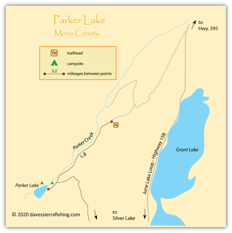 Map of Parker Lake, Mono County, CA