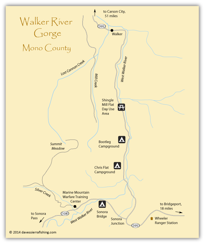 Map of Walker River Gorge, Mono County, CA
